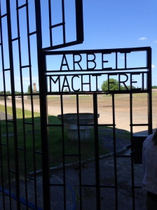 The gate to the Sachsenhausen Concentration Camp: it means work will set you free.